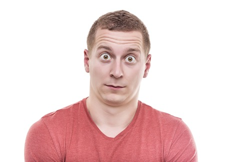 Man is very surprised. Isolate on white background.