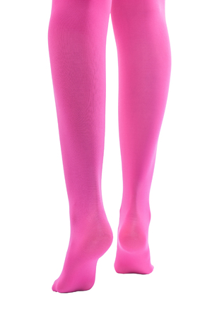 shapely legs: Shapely female legs in pink tights. Isolate on white background.