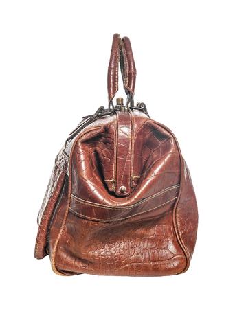 Brown Reisetasche. Isolieren auf weißem Hintergrund.
