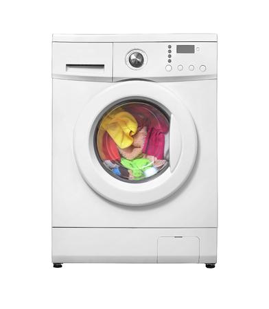 Machine à laver avec buanderie. Isolé sur fond blanc.