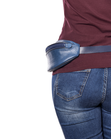 butt tight jeans: Purse for money for the womens waist. On a white background.