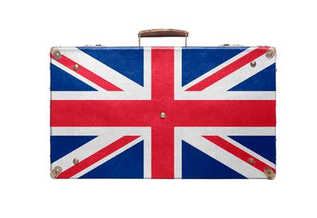 britan: Vintage travel bag with flag of United Kingdom isolated on white background.