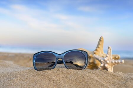 Marine still life. Flip flops, sunglasses and starfish on sea and sky background.