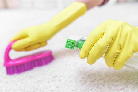 carpet clean: Clean the carpet brush and spray. Focus on the spray.