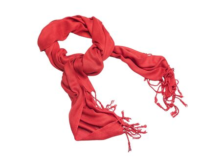 Red female scarf isolated on white background.