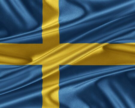 sweden flag: Sweden flag with a glossy silk texture. Stock Photo