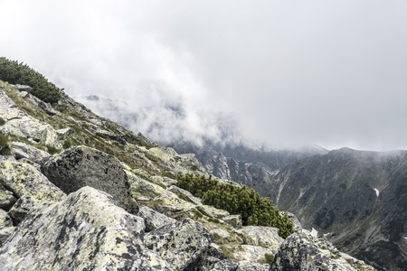 tatra: Mountain landscape on a cloudy day with rain clouds. Tatra Mountains. Stock Photo