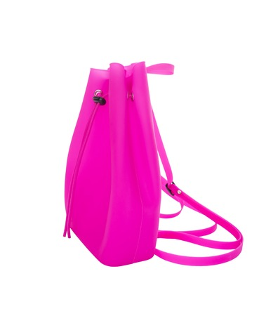 cutouts: Pink silicone backpack.