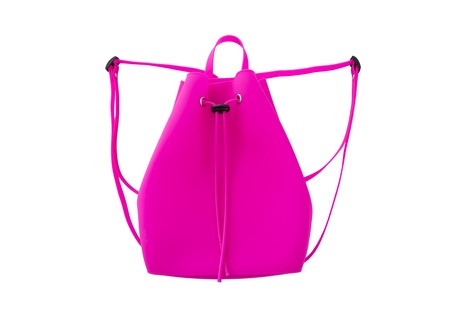 Pink silicone backpack.
