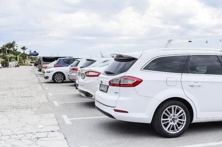 City parking in Makarska, Croatia.- JUNE 1: Parking vehicles on the streets of Makarska, June 1, 2017. Croatia. Editorial
