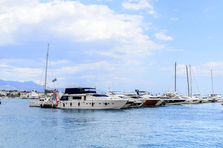 Yachts in the port of Split Croatia.