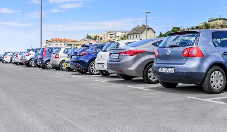 Parking cars in the port. Editorial