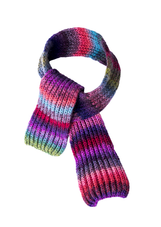 Multi-colored winter scarf. Stock Photo
