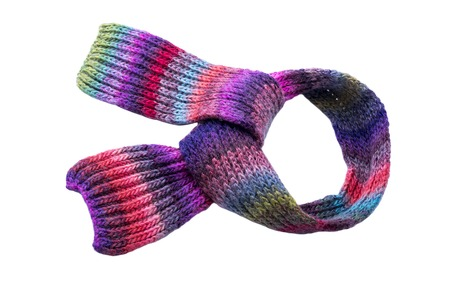 Multi-colored winter scarf isolated on white background.
