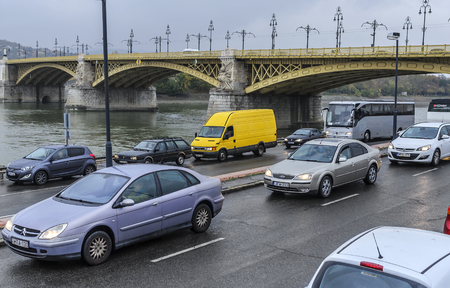 Traffic on the roads of Budapest.