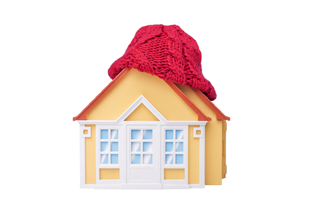 House is wrapped up in a winter scarf standing on a white knitted plaid. Stock Photo