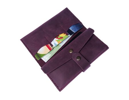 Womens purse with phone, money and cards.