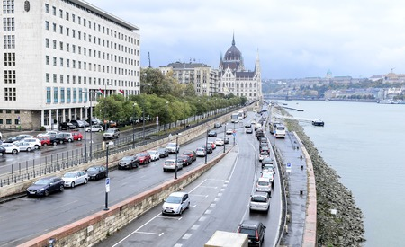 BUDAPEST, HUNGARY- 27 OCTOBER 2017: Traffic on the roads of Budapest.