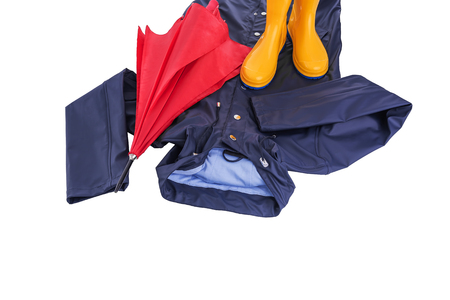 Raincoat and umbrella and rubber boots on a white background.