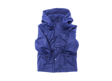 Childrens raincoat on a white background.