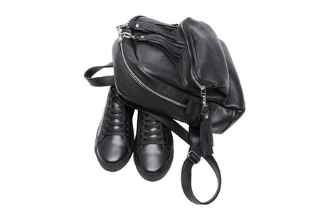 Shoes and leather backpack.