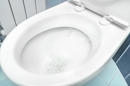 Water flushes the toilet.