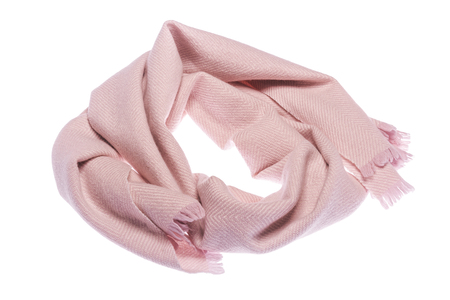 Warm winter scarf. Light color and feminine. Isolated on white background. Stock Photo
