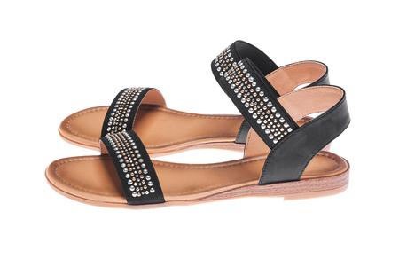 Sandales femmes noires. Banque d'images