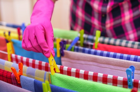 Hang laundry washed on the dryer. Stock Photo