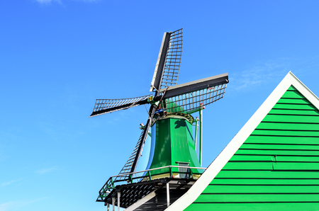 Roof of a mill against a blue sky. Stockfoto