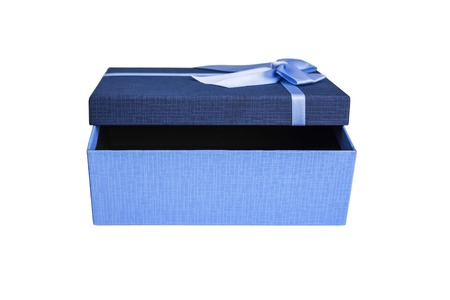 Blue box open on a white background.