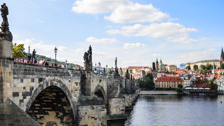 Charles Bridge. Prague, Czech Republic. View from the side.
