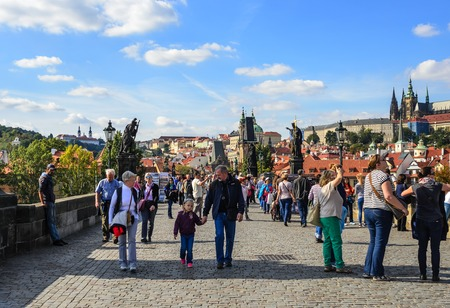 Crowd of tourists on the Charles Bridge in Prague, Czech Republic. Editorial