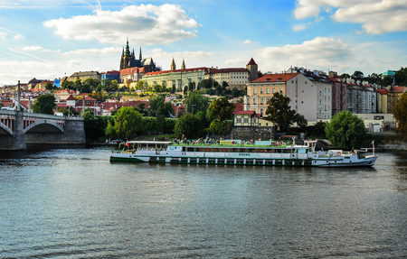 Excursion boats on the river in Prague, Czech Republic. Editorial