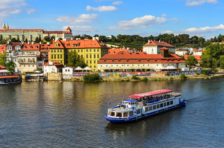 Excursion boats on the river in Prague, Czech Republic. Editöryel