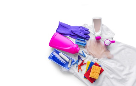 Stains on clothing and laundry detergent and cleaning. Stock Photo