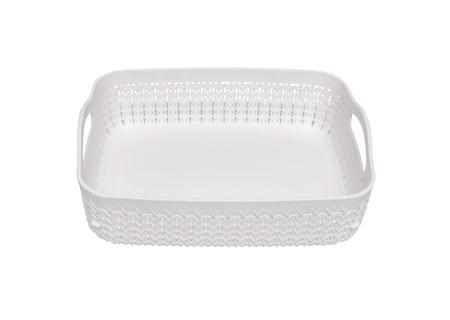 Plastic storage basket on a white background.