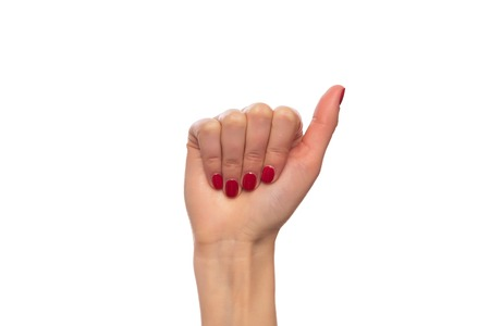 Female hand fist on white background.