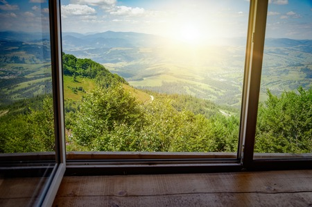 View from the window on the mountain landscape Stock Photo