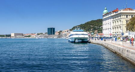 Sea ferry in the city of Split, Croatia. The ferry is one of the most sought-after vehicles in Croatia for traveling between her days.