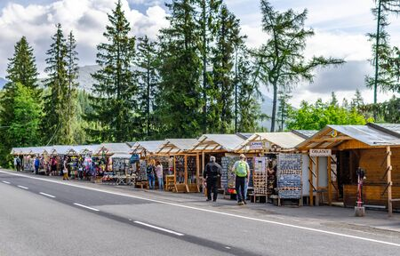 Gift shops at the foot of the mountains in Tatra Mountains, Slovakia.