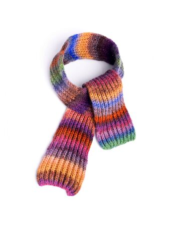 Winter multi-colored woolen scarf on white background.