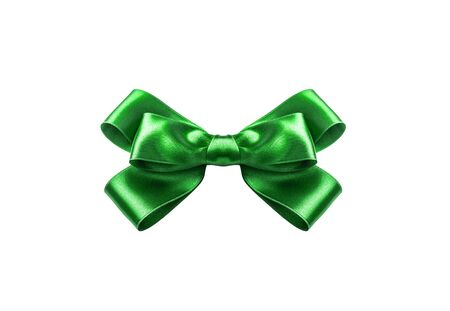 A green ribbon with a bow on a white. 写真素材