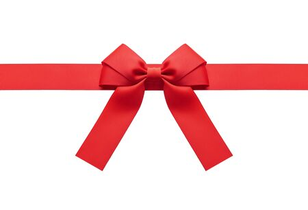 Ein rotes Band mit einer Schleife auf einem Weiß. Standard-Bild