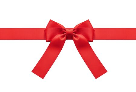 A red ribbon with a bow on a white.