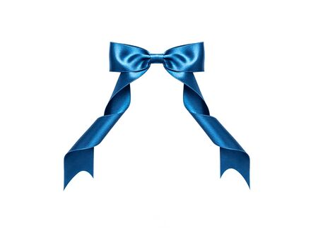 A blue ribbon with a bow on a white. 写真素材