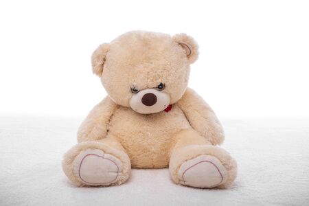 Teddy bear on a white carpet. Zdjęcie Seryjne
