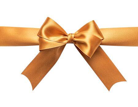 A golden ribbon with a bow on a white. Zdjęcie Seryjne