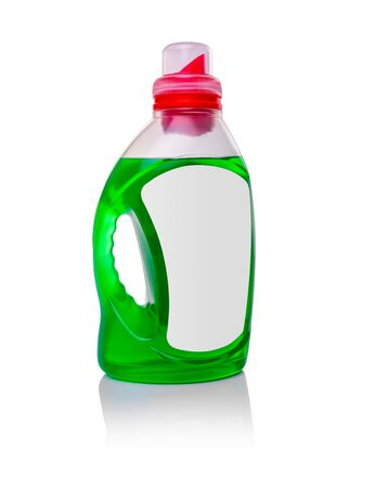 Plastic bottle with detergent or detergent on white background.