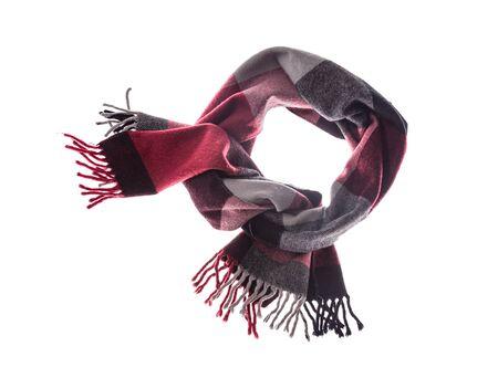 Winter classic scarf on a white background. Reklamní fotografie